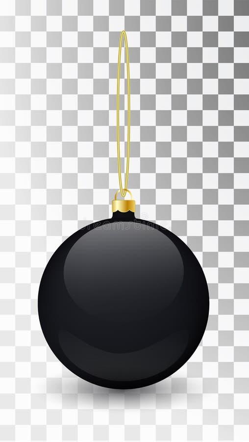 在透明背景的玻璃圣诞节黑色玩具 长袜圣诞节装饰 设计的, mocap透明vektor对象 库存例证