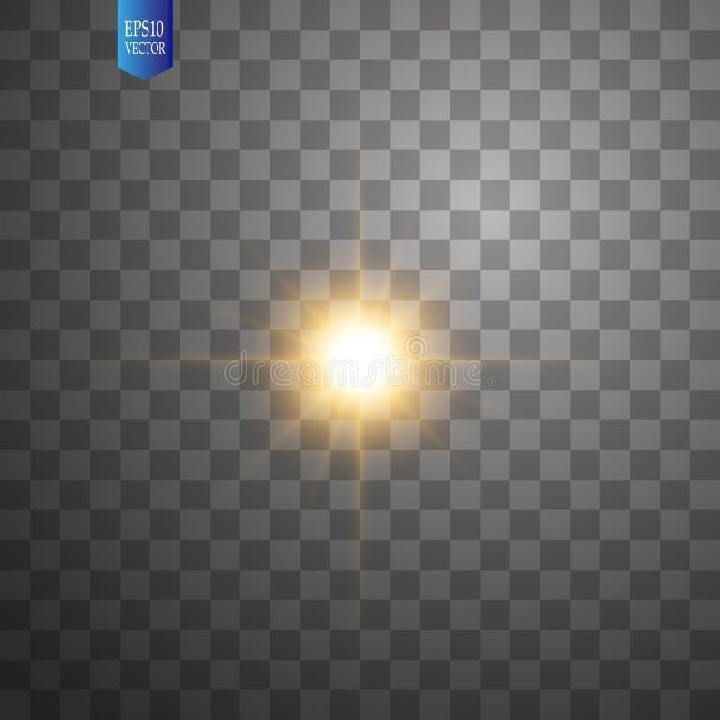 在透明背景的白色发光的轻的爆炸爆炸 传染媒介例证与光芒的光线影响装饰 皇族释放例证