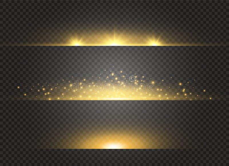 在透明背景的白色发光的轻的爆炸爆炸 传染媒介例证与光芒的光线影响装饰 向量例证