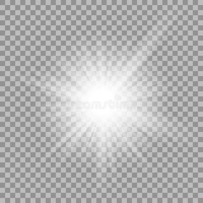 在透明背景的白色发光的轻的爆炸 向量例证