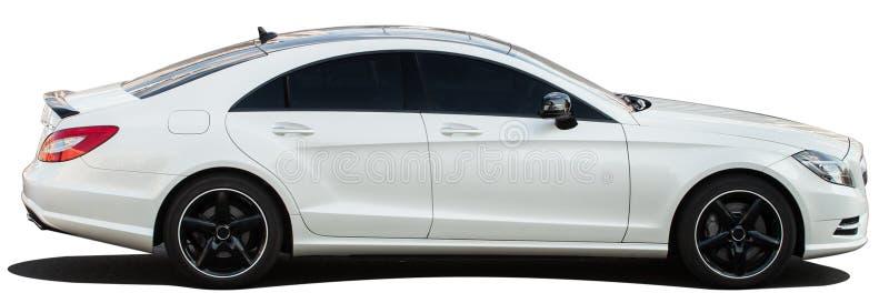 在透明背景的白色奔驰车 免版税库存图片