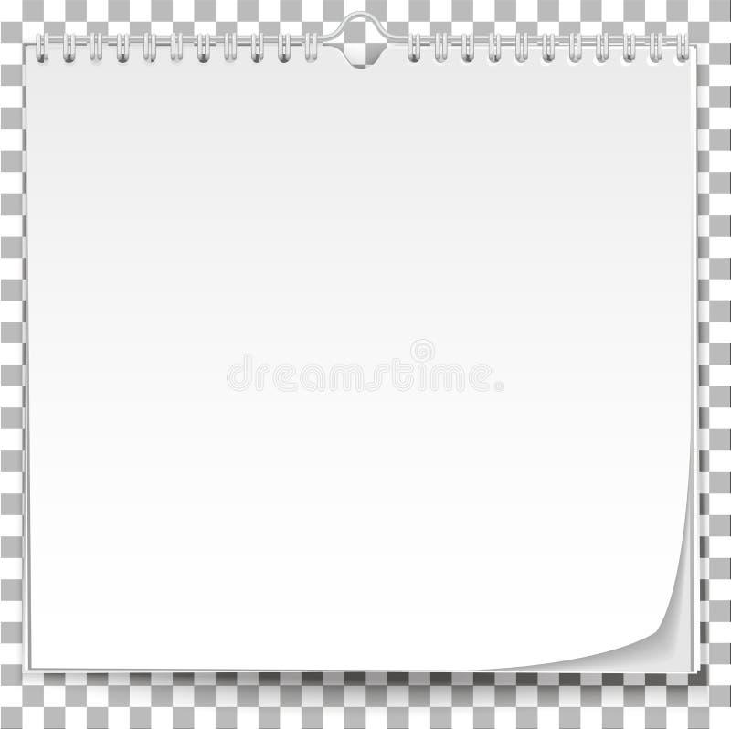 在透明背景的白色挂历模板 向量例证