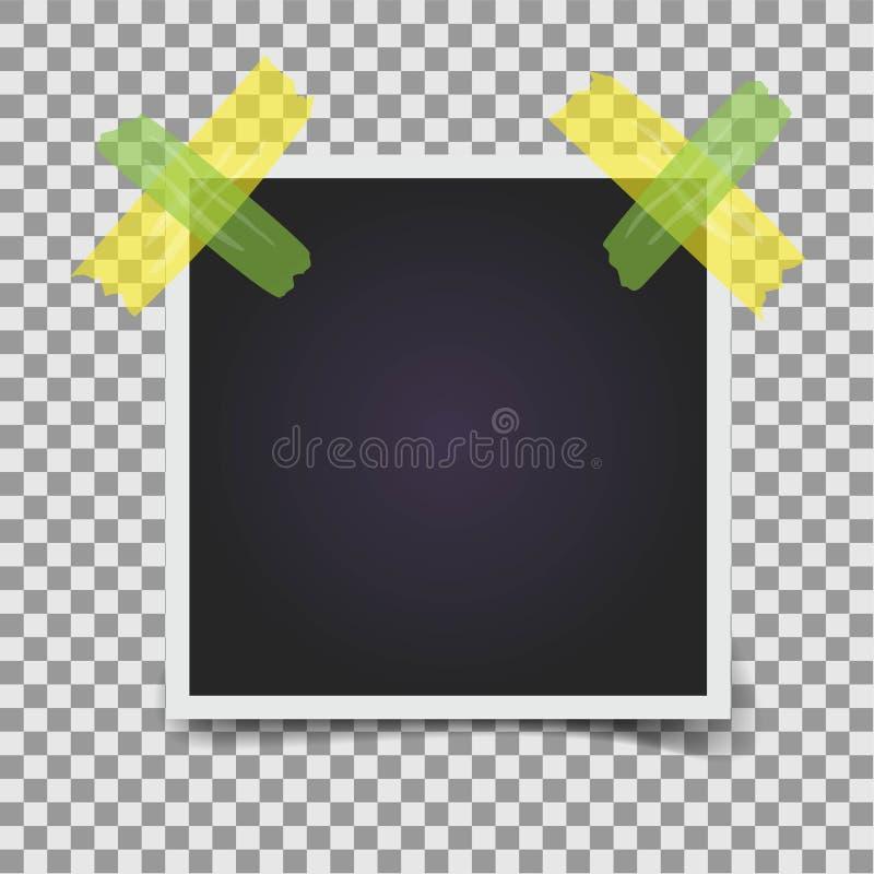 在透明背景的空的相框 黄色和绿色透明胶带 r 皇族释放例证
