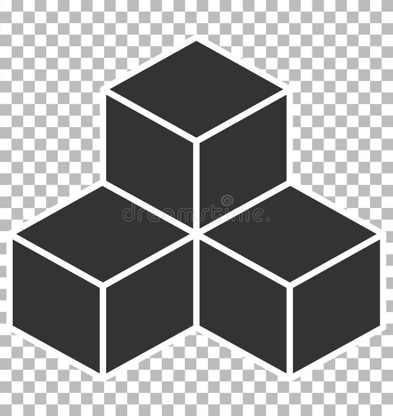 在透明背景的立方体象 平的样式 黑立方体标志 向量例证