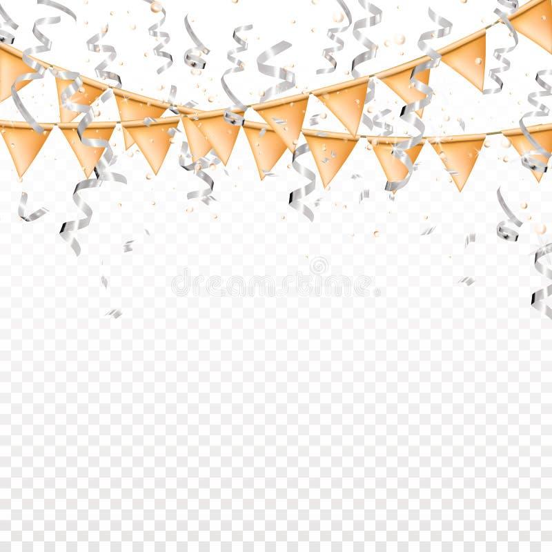 在透明背景的落的银色蛇纹石和金旗子 发光丝带和五彩纸屑,闪烁,星 节假日 向量例证