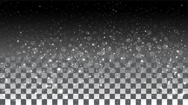 在透明背景的落的雪 免版税库存照片