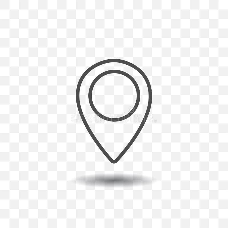 在透明背景的被概述的地图地点尖象 目标或目的地的地图别针 向量例证
