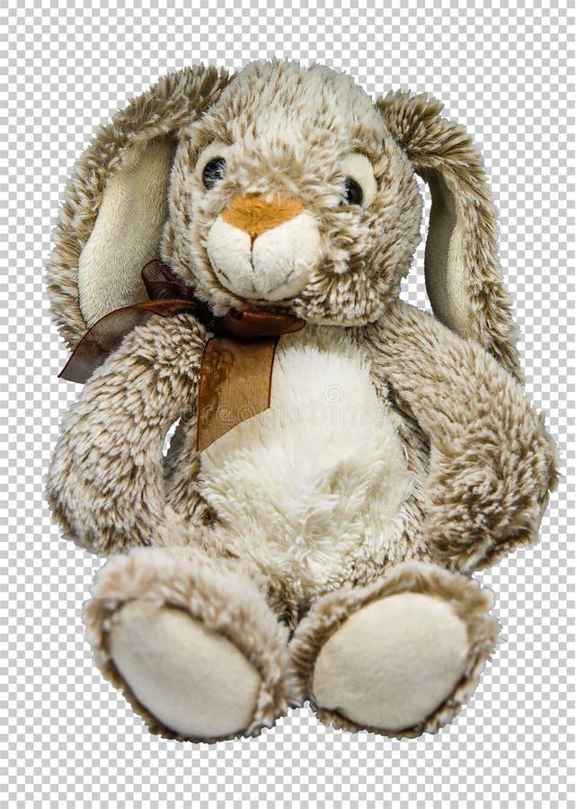 在透明背景的软的玩具野兔,png 免版税库存照片