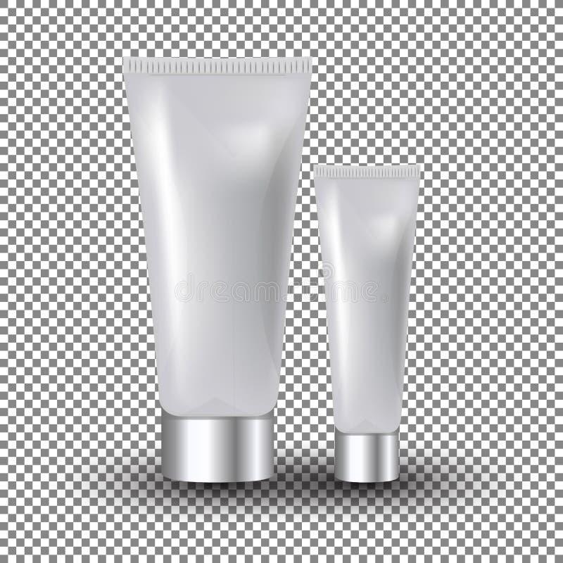 在透明背景的迷人的白色脸面护理和眼睛奶油色瓶子 大模型3D现实传染媒介例证 库存例证