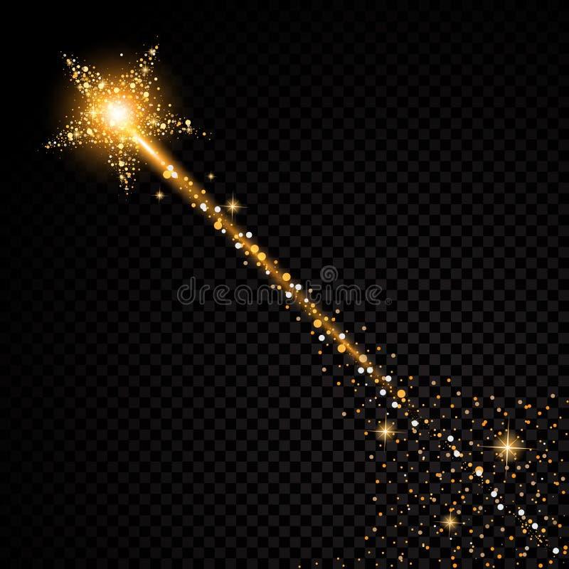 在透明背景的金闪烁的星团足迹闪耀的微粒 空间彗星尾巴 传染媒介魅力时尚 库存例证