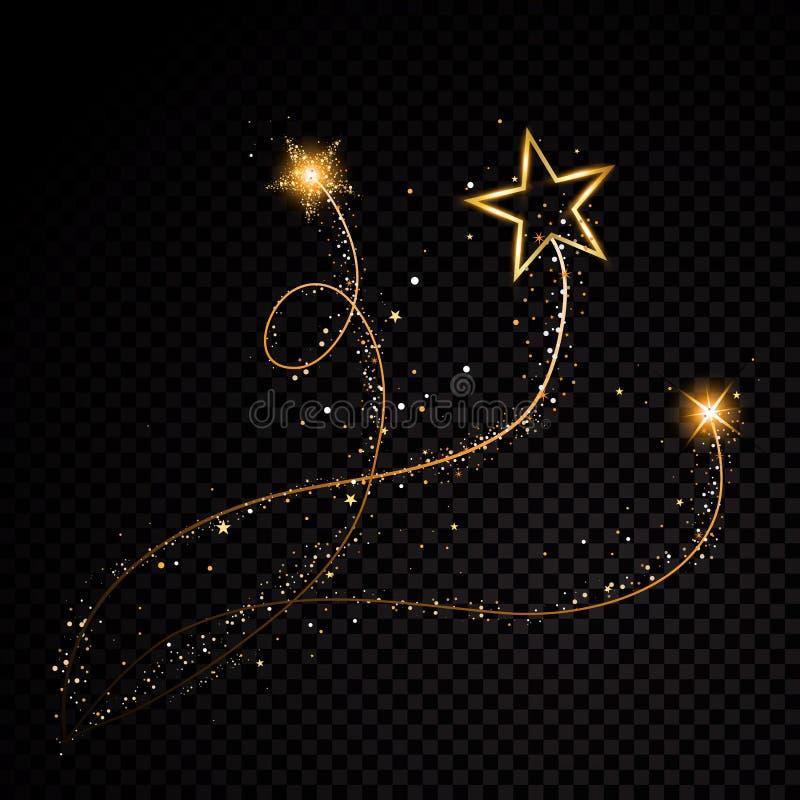 在透明背景的金闪烁的螺旋星团足迹闪耀的微粒 空间彗星尾巴 传染媒介魅力 向量例证