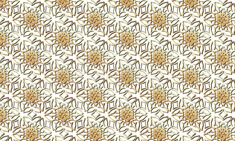 在透明背景的金黄花纹花样 向量例证