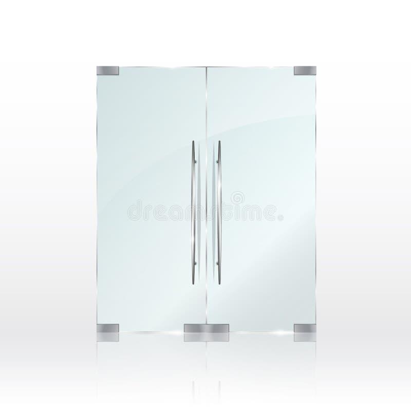 在透明背景的玻璃门 向量 向量例证