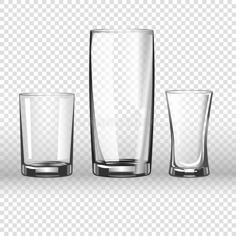 在透明背景的玻璃玻璃器皿3D现实传染媒介象 库存例证