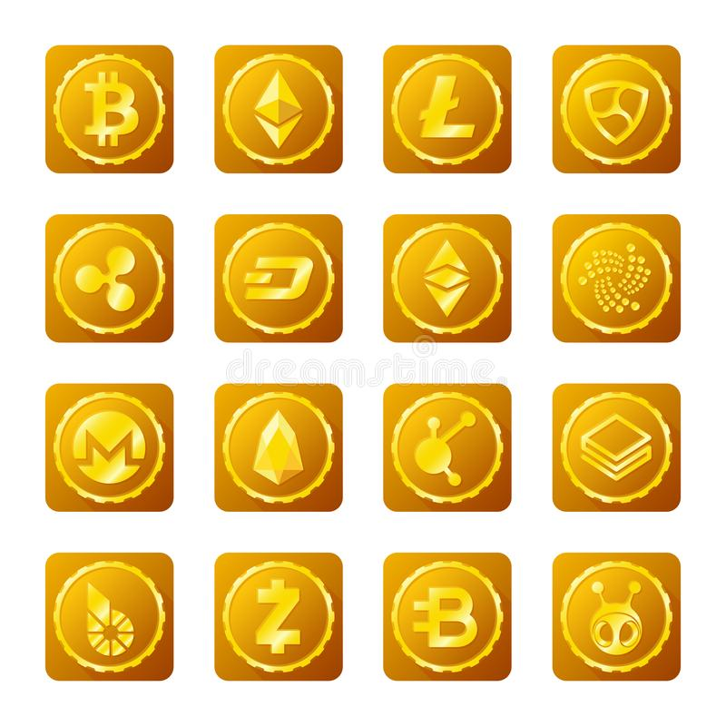 在透明背景设置的主要cryptocurrency标志 皇族释放例证