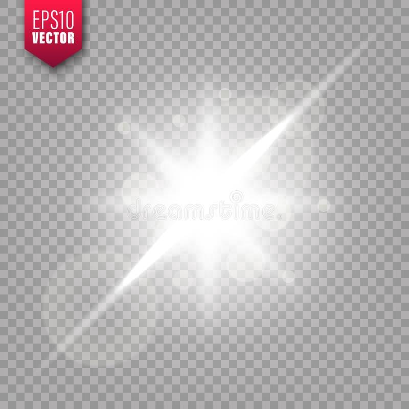 在透明背景设置的发光的光 r 明亮的闪耀的闪光,阳光 r 库存例证