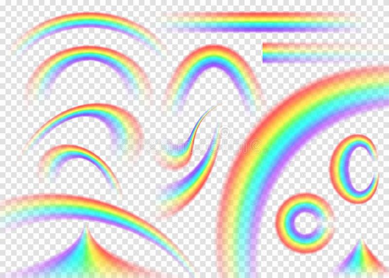 在透明背景设置的彩虹 现实雨曲拱 向量例证