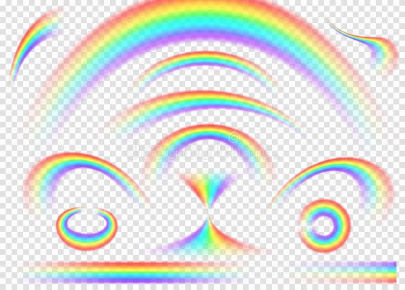 在透明背景设置的彩虹 现实雨曲拱 皇族释放例证