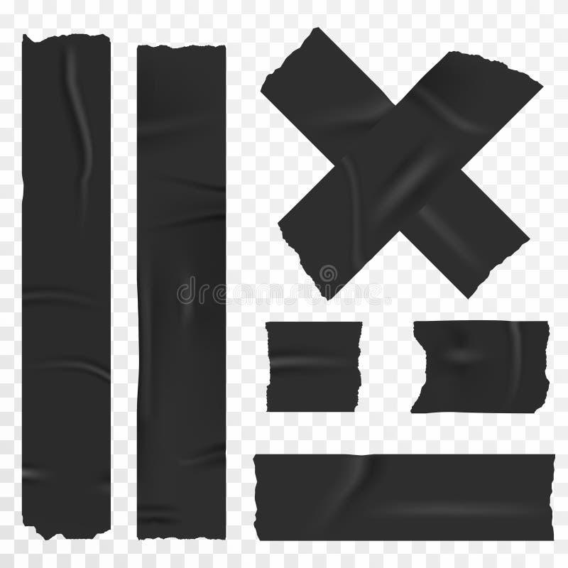 在透明背景设置的橡皮膏 现实胶带,刻痕条纹 库存例证
