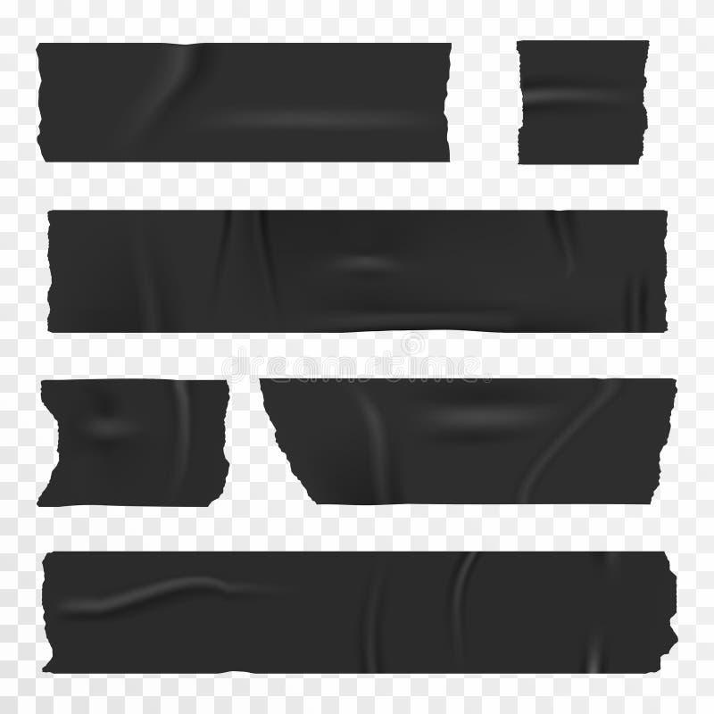 在透明背景设置的橡皮膏 现实胶带,刻痕条纹 向量例证