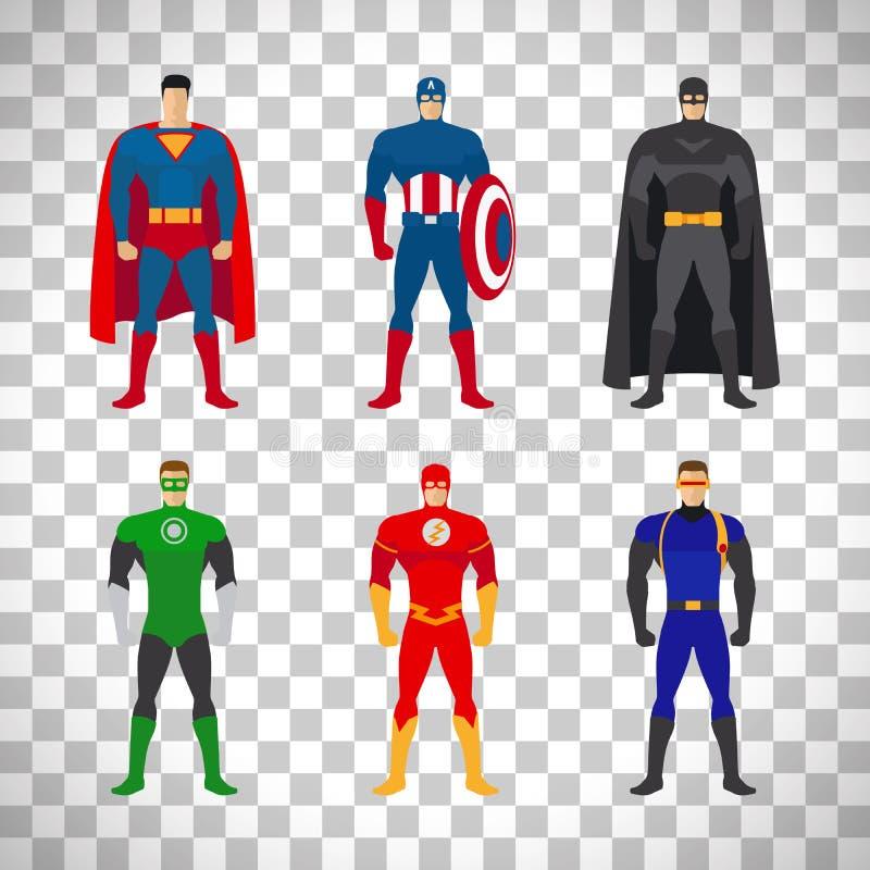 在透明背景设置的超级英雄服装 向量例证