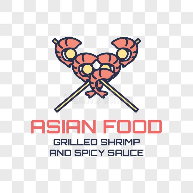在透明背景隔绝的亚洲食物商标 向量 库存例证