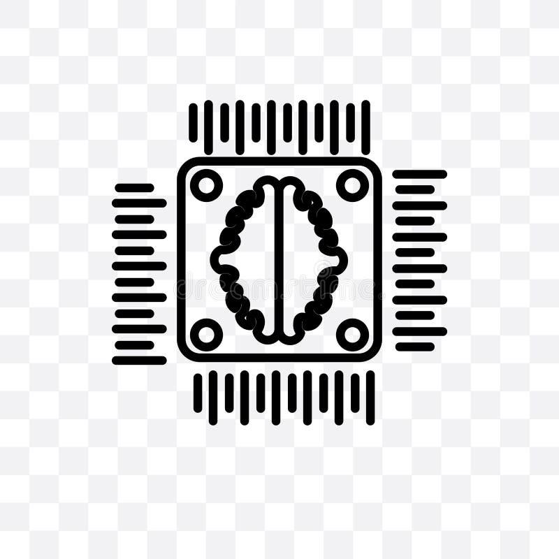 在透明背景隔绝的人工智能传染媒介线性象,人工智能透明度概念可以是 向量例证