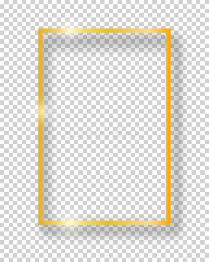 在透明背景隔绝的传染媒介金黄发光的葡萄酒方形的框架 豪华现实边界 皇族释放例证