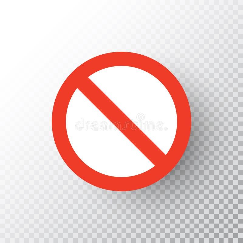 在透明背景隔绝的停车牌 红色路没有标志 交通管理警告的中止标志 通知司机 库存例证