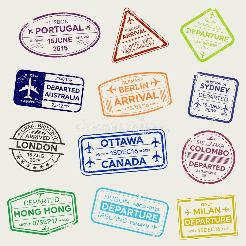 在透明背景隔绝的国际商务旅游签证护照邮票集合的创造性的传染媒介例证 艺术desi 向量例证