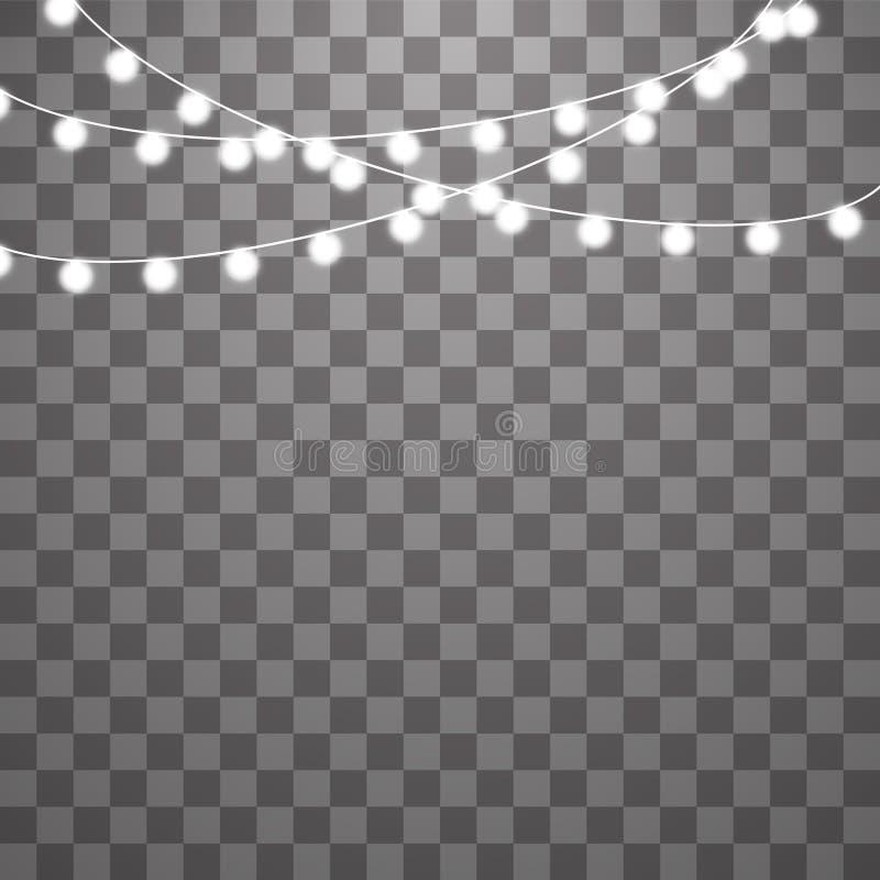 在透明背景隔绝的圣诞灯 xmas发光的光的传染媒介例证 向量例证