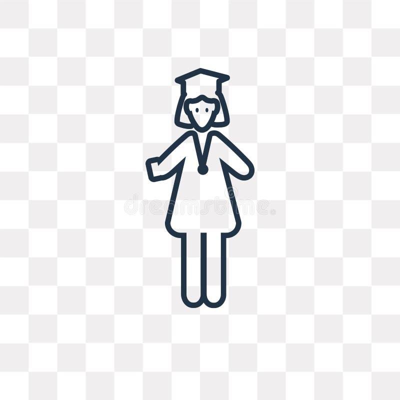 在透明背景隔绝的妇女毕业的传染媒介象, 皇族释放例证
