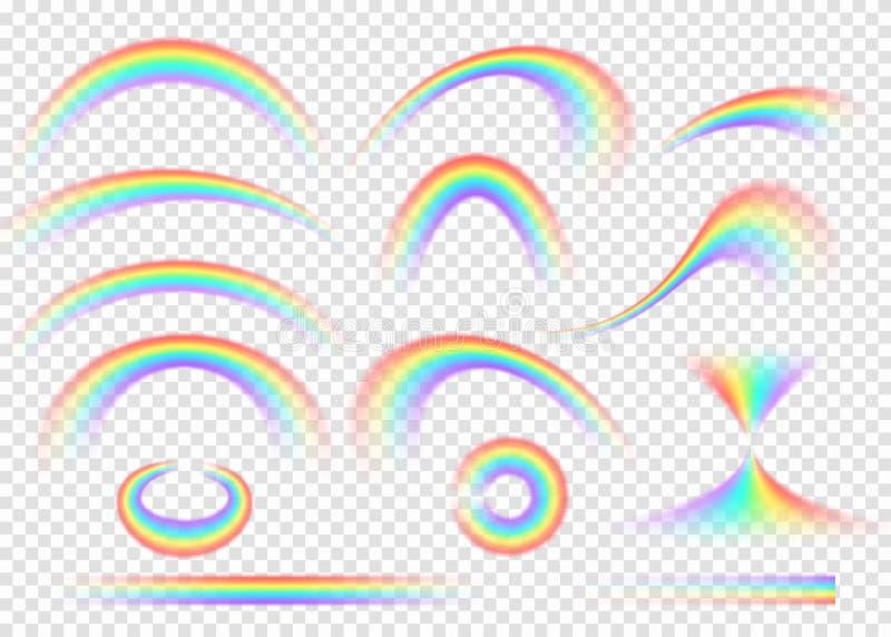 在透明背景隔绝的彩虹集合 现实雨曲拱 向量例证