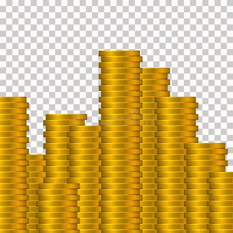 在透明背景隔绝的很多金币 金钱概念 库存例证