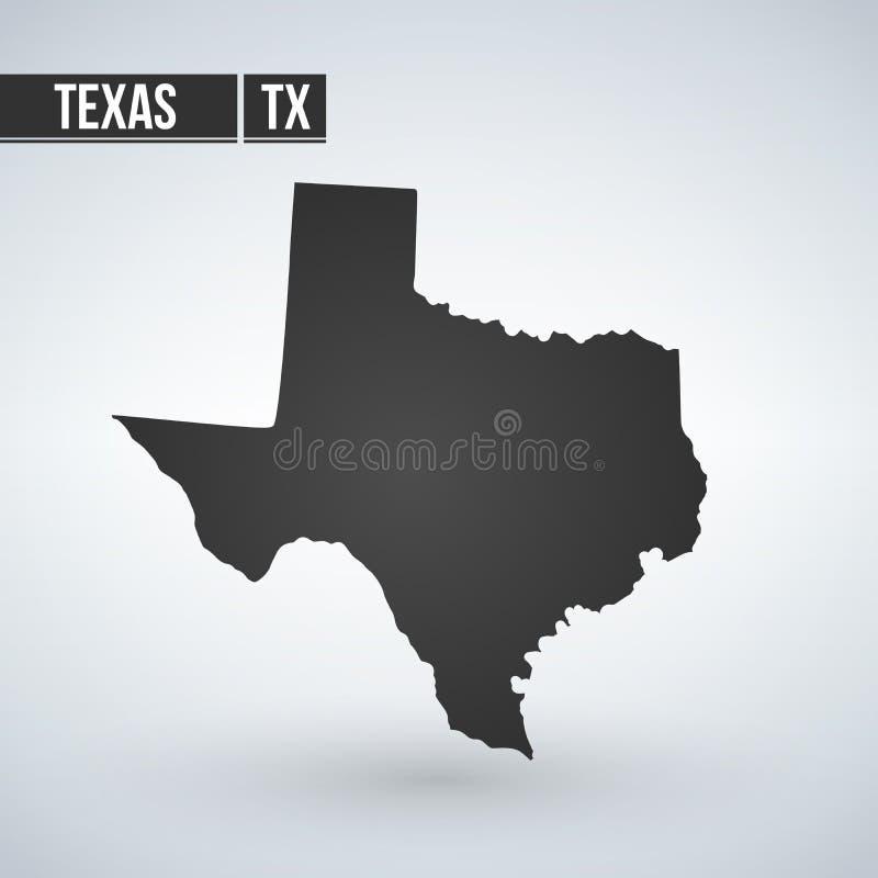 在透明背景隔绝的得克萨斯地图 您的设计的黑地图 传染媒介例证,容易编辑 向量例证