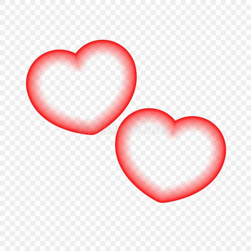 在透明背景隔绝的抽象心脏 欢乐事件的设计元素 皇族释放例证