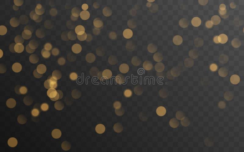 在透明背景隔绝的抽象金黄光亮的bokeh 装饰或圣诞节背景 向量例证