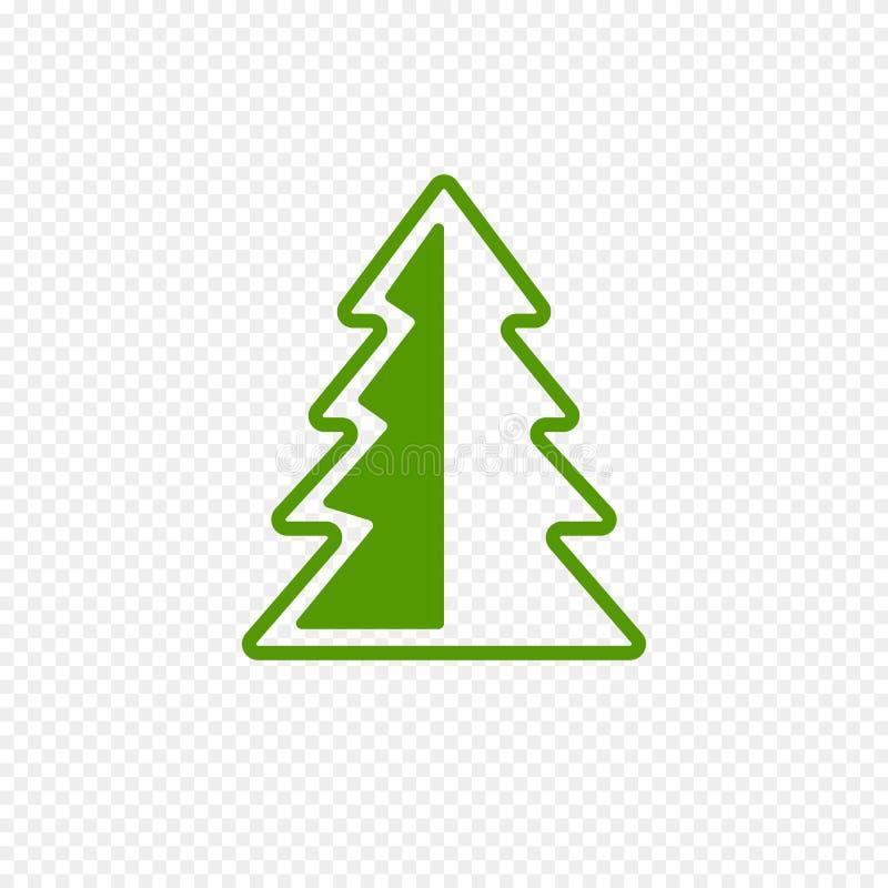 在透明背景隔绝的杉树象 网的绿色圣诞树象 皇族释放例证
