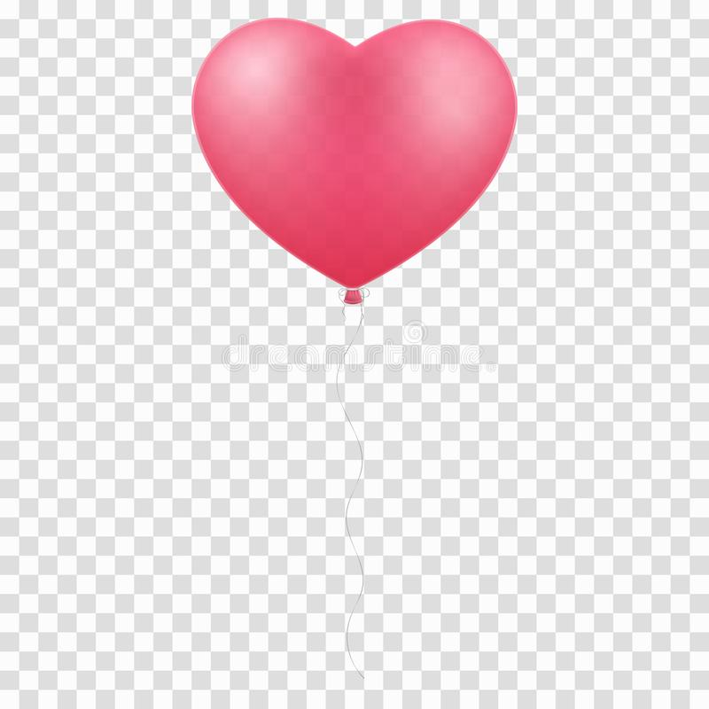在透明背景隔绝的桃红色气球心脏 您的设计的图表元素 日愉快的华伦泰 浪漫, realisti 库存例证