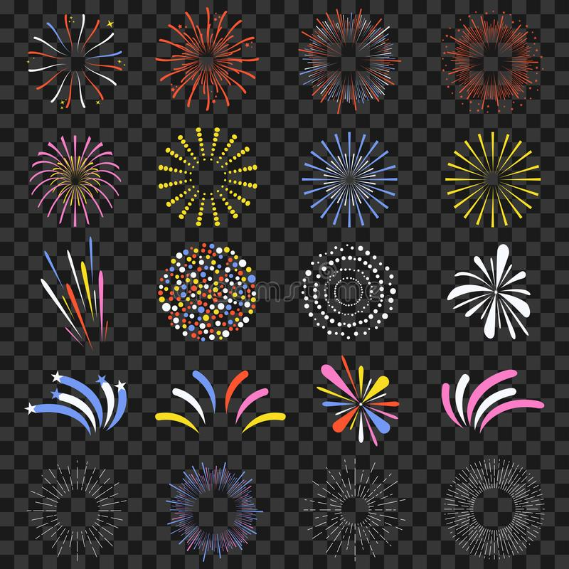 在透明背景隔绝的欢乐烟花 明亮地,五颜六色和单色庆祝爆竹 库存例证