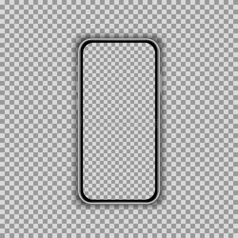 在透明背景隔绝的现实智能手机屏幕模板 正面图大模型 皇族释放例证