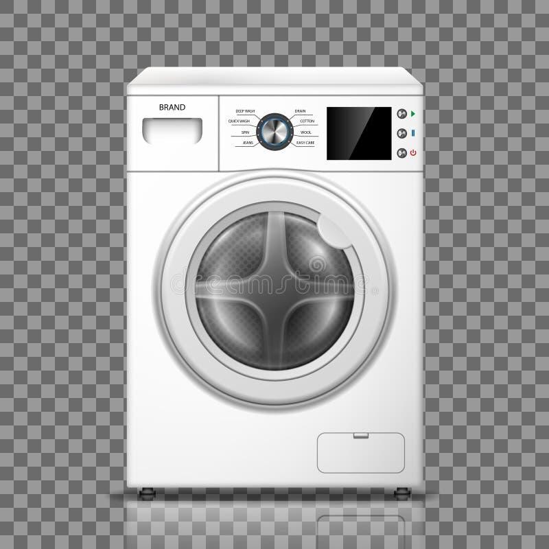 在透明背景隔绝的现实洗衣机 白色洗衣机正面图 现代洗衣机大模型或 向量例证