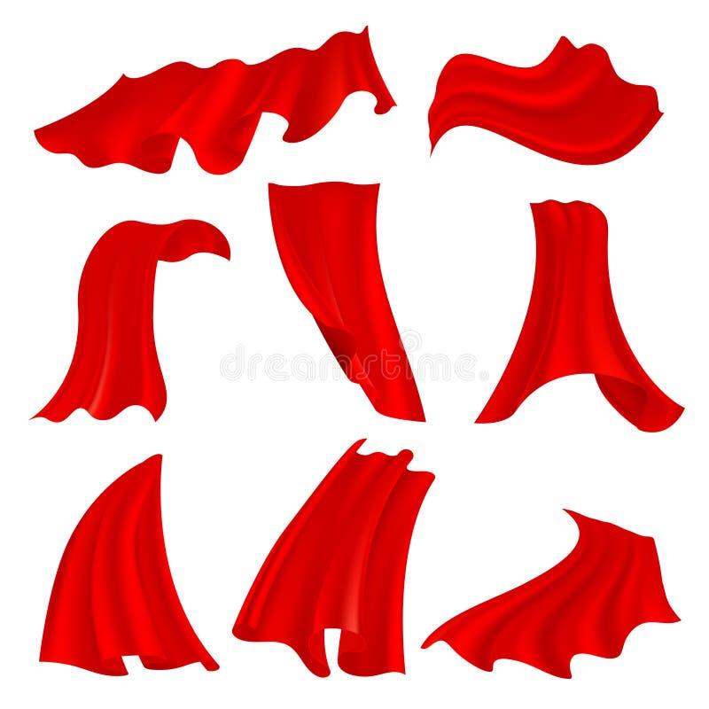 在透明背景隔绝的现实滚滚向前的红色缎布料 振翼的织品猩红色帷幕传染媒介集合 库存例证