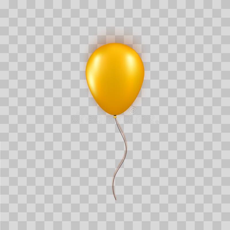 在透明背景隔绝的现实金气球 生日或黑星期五销售问候的传染媒介元素 库存例证