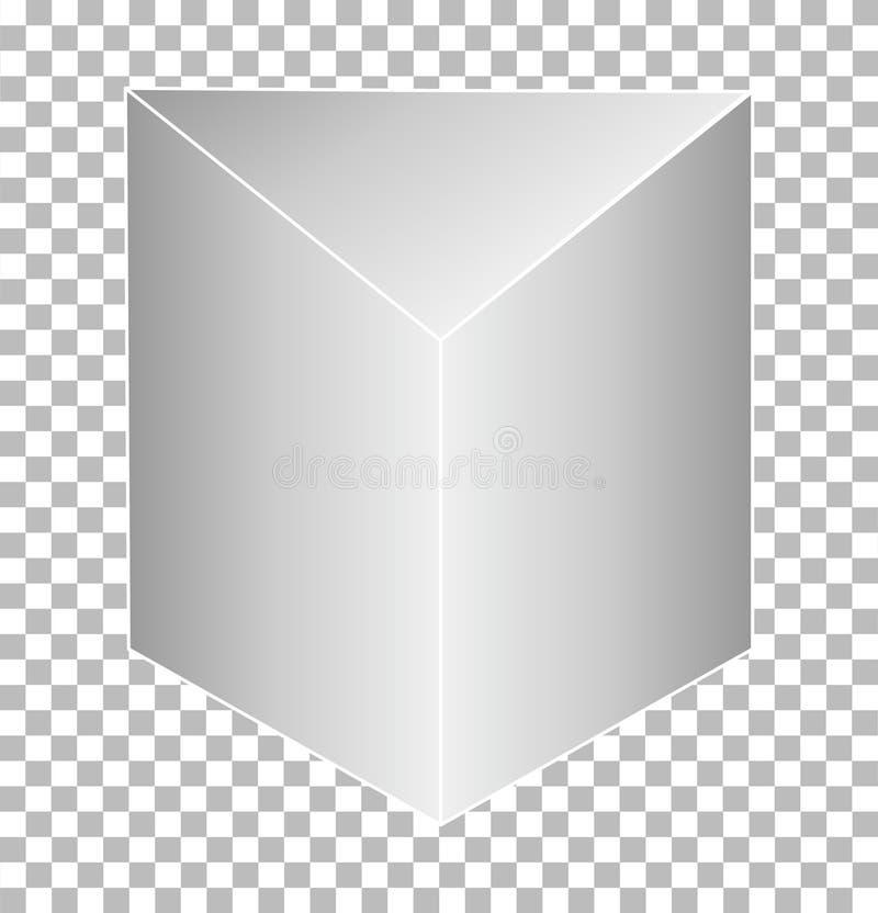 在透明背景隔绝的白色三棱柱 库存例证