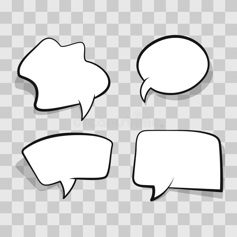 在透明背景隔绝的白色可笑的讲话泡影 集合空的讲话泡影,覆盖在明白的可笑的模板 库存例证