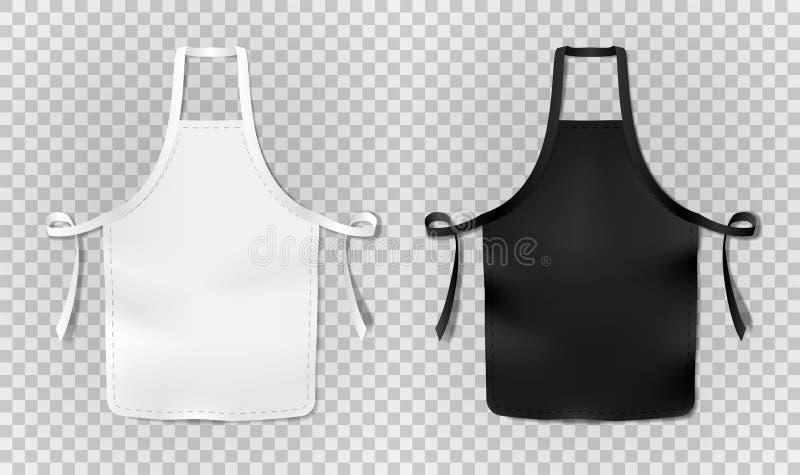 在透明背景隔绝的白色和黑厨房厨师围裙 烹调或面包师的防护现实围裙 库存例证