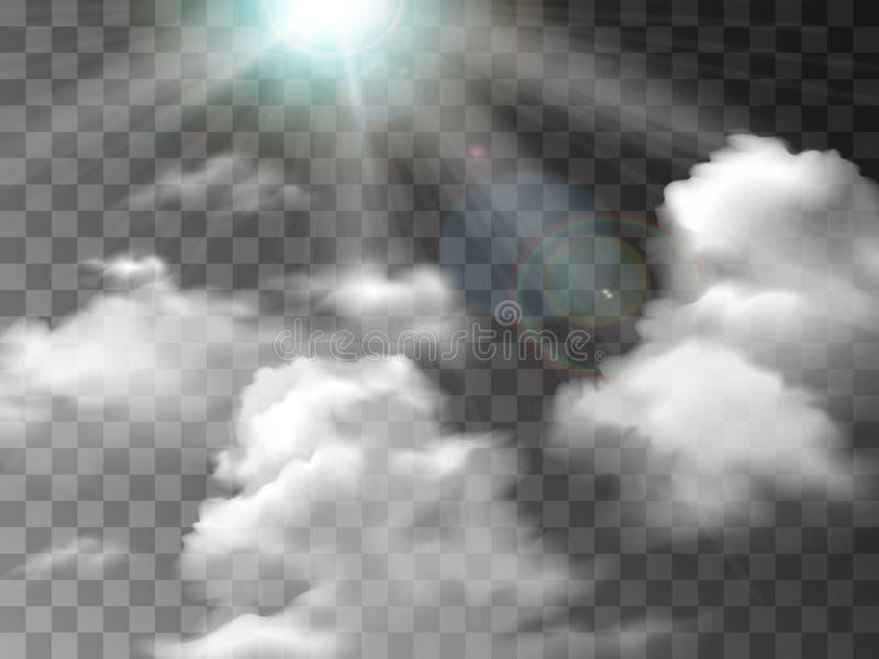 在透明背景隔绝的白色雾纹理 r 现实传染媒介火烟或薄雾 库存例证