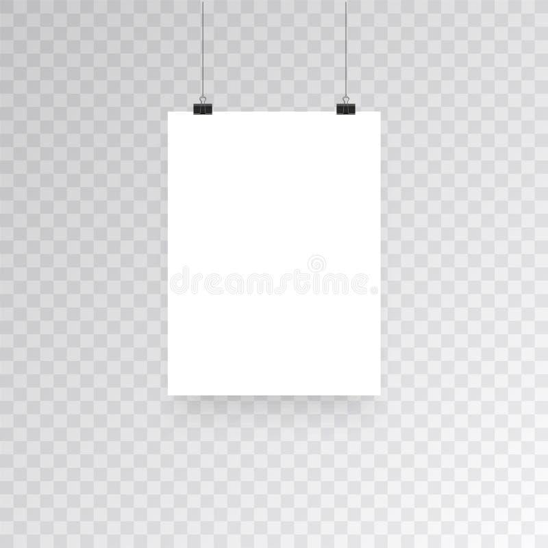 在透明背景隔绝的空白的垂悬的照片框架或海报模板 垂悬照片的图片,框架纸 向量例证