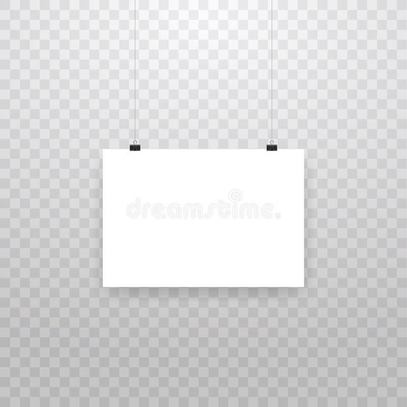 在透明背景隔绝的空白的垂悬的照片框架或海报模板 垂悬照片的图片,框架纸 皇族释放例证